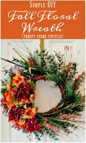 simple diy fall floral wreath thrift store decor upcycle