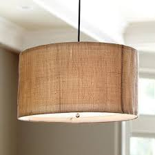 Drum Light Pendant Woven 3 Light Burlap Drum Pendant