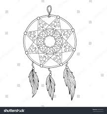 zentangle dream catcher feathers anti stock vector 360633539