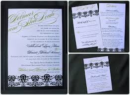wedding invitations details card black chartreuse ornate scrollwork with large names pocketfold