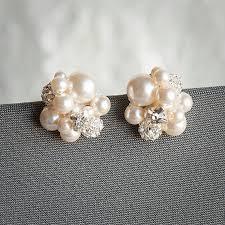bridesmaid pearl earrings pearl cluster wedding earrings bridal stud earrings