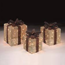 set of 3 copper and gold light up presents decorations kmart