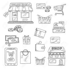 shopping and retail icons in sketch style of online shop sale