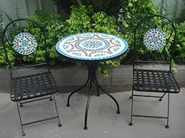 Garden Bistro Table 3 Metal Garden Bistro Set Table 2 Chairs Cobalt Blue