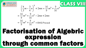 factorisation of algebric expression through common factors