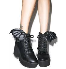 black lace up biker boots bat wing platform boots bat wings iron fist and bats