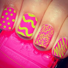 pink and green fluorescent nail polish design polish obsession