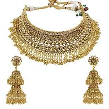 bridal necklace set images Muchmore ethnic gold brass made full choker polki jpg