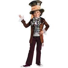 Halloween Costumes Alice Wonderland Alice Wonderland Mad Hatter Deluxe Child Halloween Costume