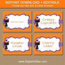 digital art star printable party decor halloween cat buffet