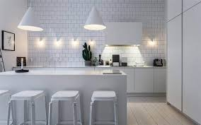 kitchen fancy white kitchen in scandinavian interior with subway
