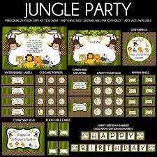 jungle safari animals birthday party invitations
