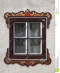 bavarian window with painted decorations austria stock image