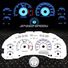 reverse indiglo glow gauge dash face cluster for 00 03 chevy s10