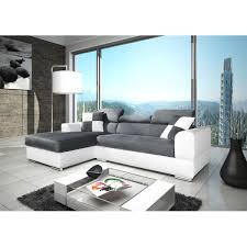 canapé d angle 4 places néto madrid gris et blanc pas cher