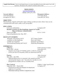 Sample Resume Objectives For Merchandiser by Retail Property Resume Sales Retail Lewesmr
