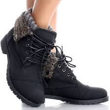 womens boots size 9 ebay black lace up knit fold cuffed combat booties flat ankle