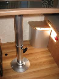 rv table pedestal adjustable marine pedestal leg cushions velcroed to bases no retaining lip