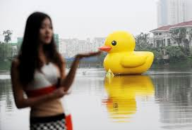 ahhh big rubber duck takes over hong kong next stop is the u s a