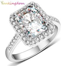 wedding ring brand yunkingdom new square design white gold color ring cubic zirconia