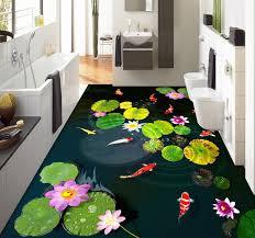 cuisine salle de bains 3d revêtement sol personnalise les nénuphars et les poissons dans l