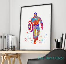avengers home decor captain america art print original watercolor civil war poster the