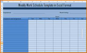Excel Weekly Schedule Template Excel Weekly Schedule Template Weekly Work Schedule Template In
