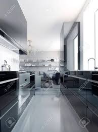 light grey acrylic kitchen cabinets modern black kitchen interior glossy cabinets black color with