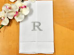 Disposable Guest Hand Towels For Bathroom White Linen Hand Towel W Single Initial Font R