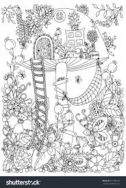 zentangle mushroom house in the forest doodle flowers coloring