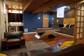 pool table in living room basement modern with brown leather
