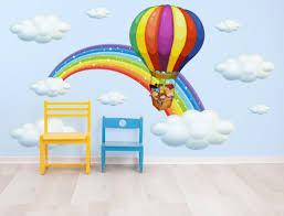 heißluftballon kinderzimmer wandtattoo regenbogen mit heißluftballon und wolken i
