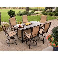 Patio Furniture With Fire Pit Set - monaco 7 piece high dining bar set with 30 000 btu fire pit bar