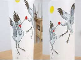 How To Paint A Vase Art Lesson How To Paint Dancing Brolgas On A Vase With Ceramic