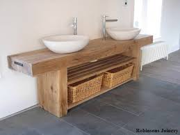 Oak Sink Basin Wash Stand Solid Rustic Oak Bespoke Hand Crafted In - Solid wood bathroom vanity uk