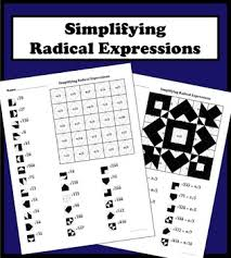 simplifying radical expressions color worksheet by aric thomas tpt