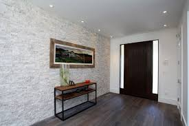 contemporary entryway with wood console table by gary ahern