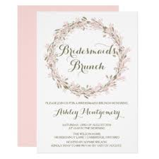 bridesmaids brunch invitations blush winter wreath bridesmaids luncheon invite zazzle