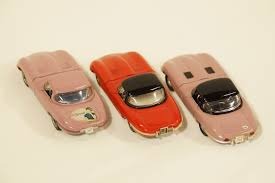 peach car model cars x 3 politoys jaguar e type n89 red heather