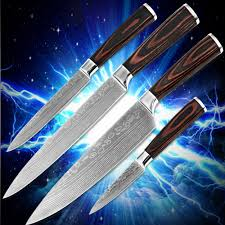 high quality kitchen knives four piece set kitchenware color wood high quality kitchen knives four piece set kitchenware color wood handle 7cr17stainless steel blade damascus stlye