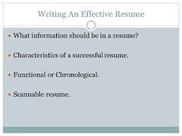 successful resume writing the effective resume ppt