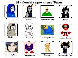 Zombie Team Meme - my zombie apocalypse team by mastermagi100 on deviantart