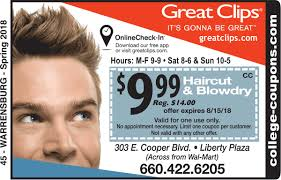 haircut specials at great clips college coupons university of central missouri great clips coupon