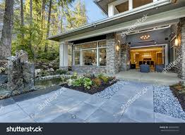 luxurious construction home exterior front stock photo