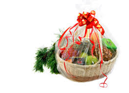 new year gift baskets new year gift basket and pine branch stock image image of