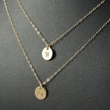 sted initial necklace tiny initial circle necklace small from kestjewelry on etsy