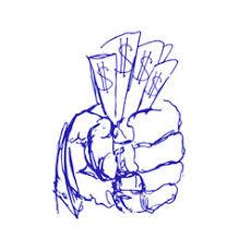 money in the hand royalty free vector image vectorstock