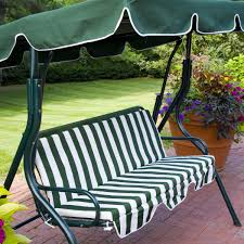 Swing Chair Patio Outdoor Green Stripe Patio Sling Swing Glider Furniture Canopy