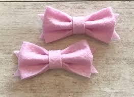 fabric bows 2 light pink felt bows felt bows tuxedo bows fabric bows