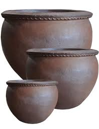 s 3 large round rustic ironstone black clay pots